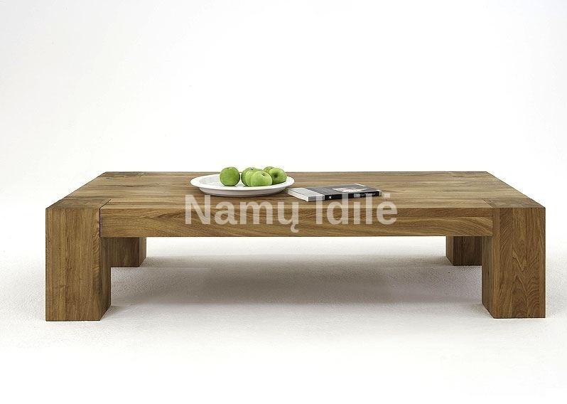 Ąžuolinis kavos staliukas BONA. Masyvo mediniai baldai iš ąžuolo. Mediniai stalai