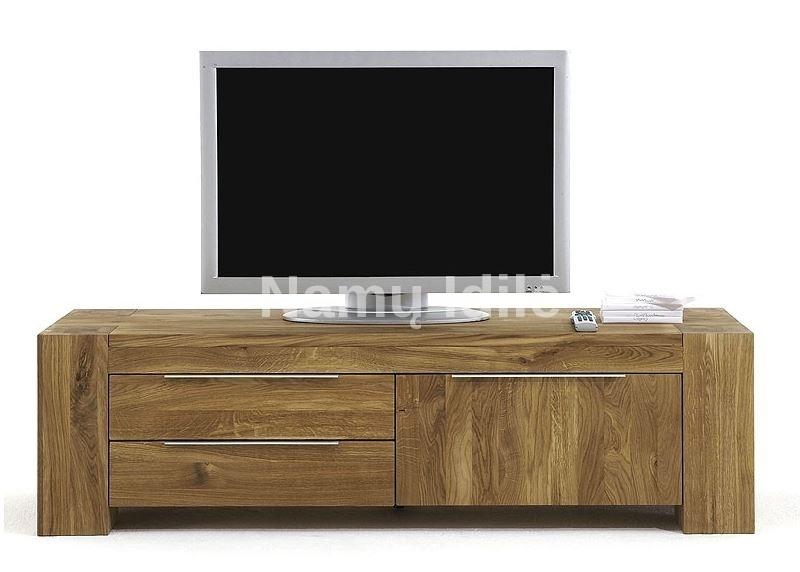 Ąžuolinė TV komoda BONA. Masyvo mediniai baldai iš ąžuolo.