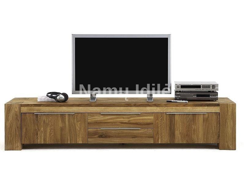 Masyvo TV komoda BONA-2. Masyvo mediniai baldai iš ąžuolo.